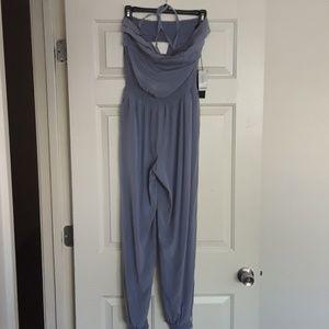 Bebe 92% Silk Blue Jumpsuit